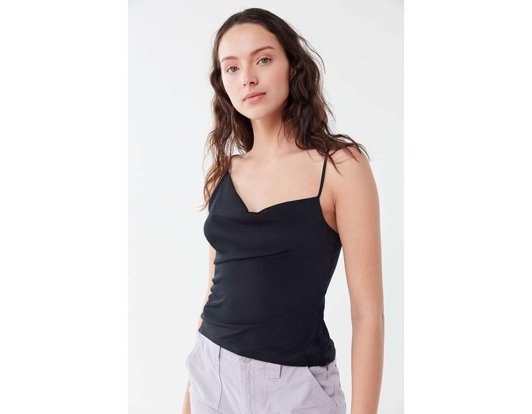9492d08fd Lyst - Urban Outfitters Uo Cecily Asymmetrical Cowl Neck Cami in Black