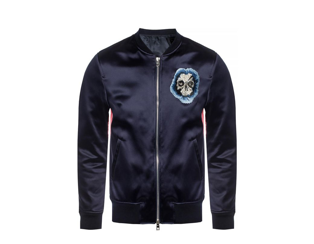d26e375a661 Lyst - Alexander McQueen Colour-blocked Bomber Jacket in Blue for ...