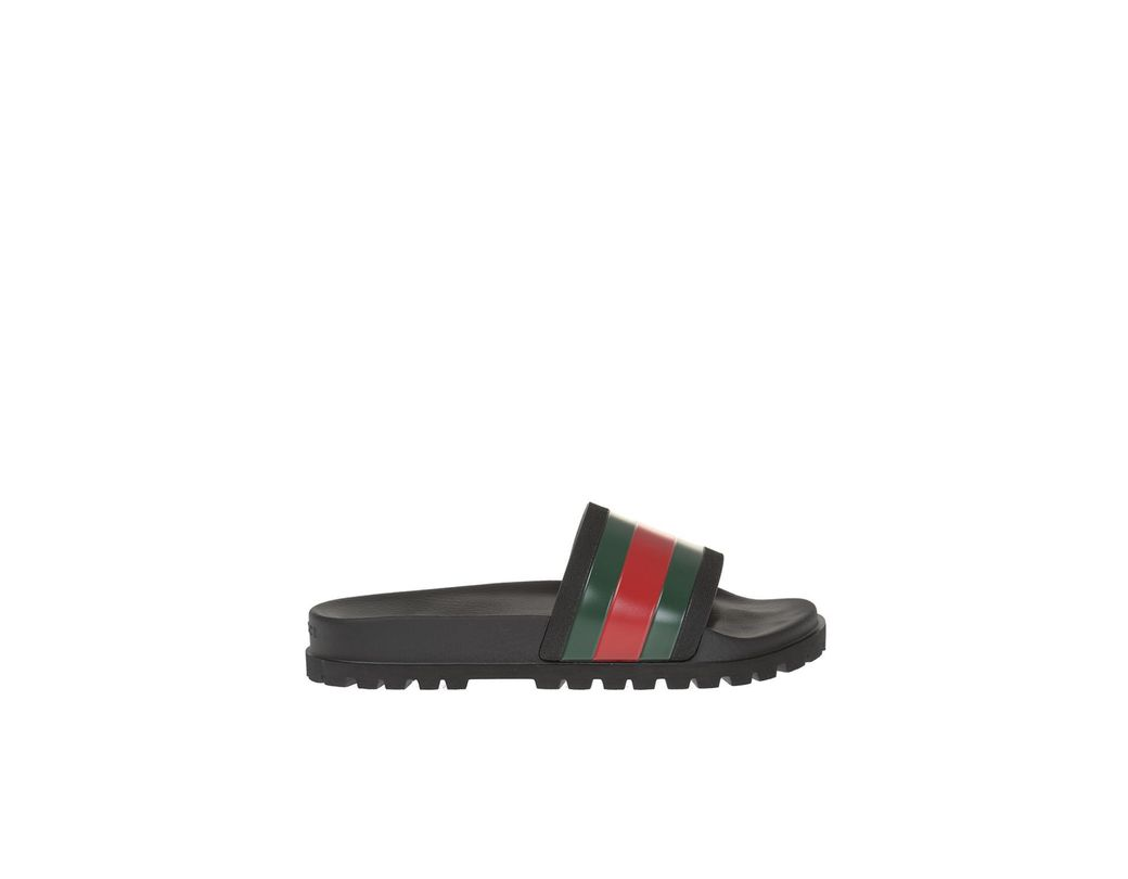 623bdc19d1d Gucci Striped Web Rubber Slides in Black for Men - Save 33% - Lyst