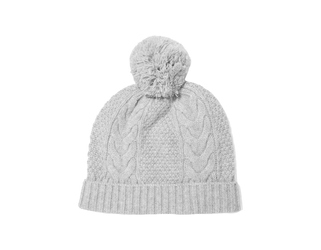 73394a636 N.Peal Cashmere Pom Pom-detailed Cable-knit Cashmere Beanie in Gray ...