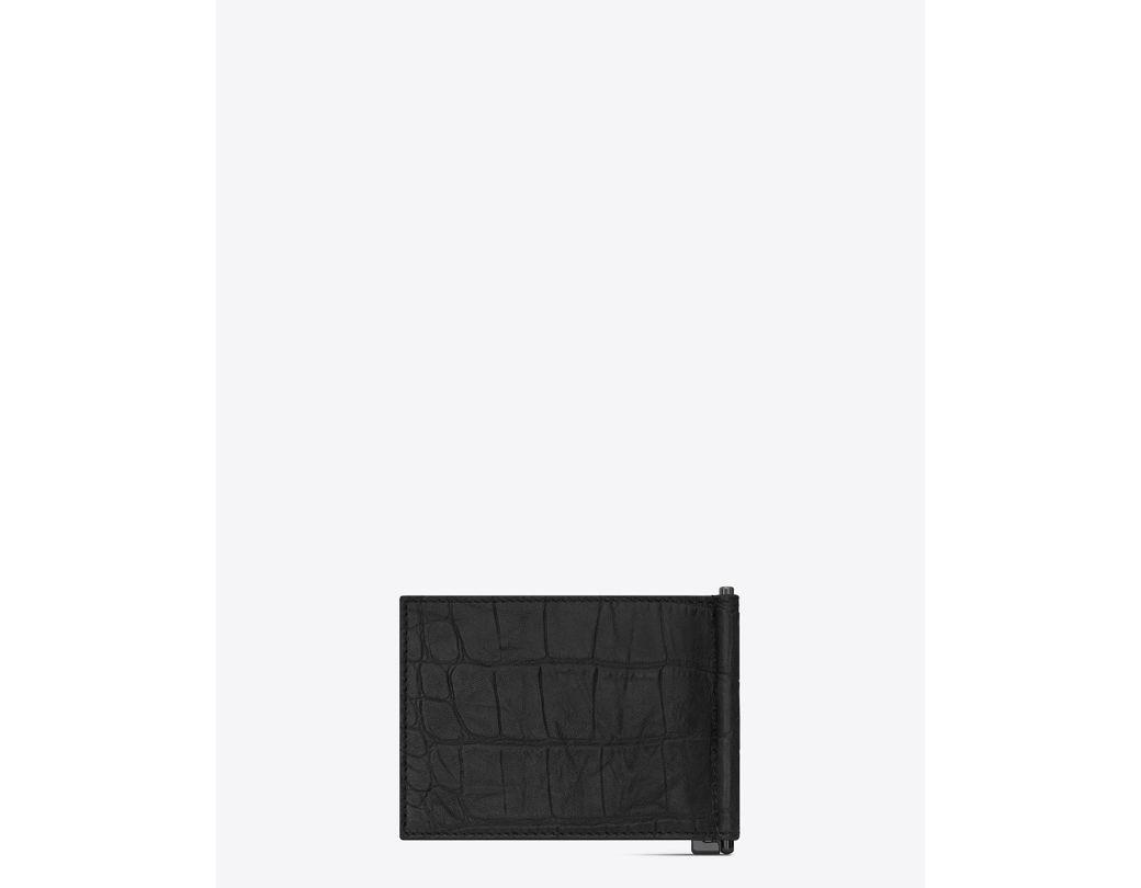 6f5ecbf3fd Men's Black Monogram Bill Clip Wallet In Crocodile Embossed Leather
