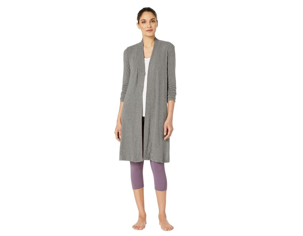 c8a95f36db Lyst - Beyond Yoga High Slits Long Duster (mid/heather Gray) Women's ...