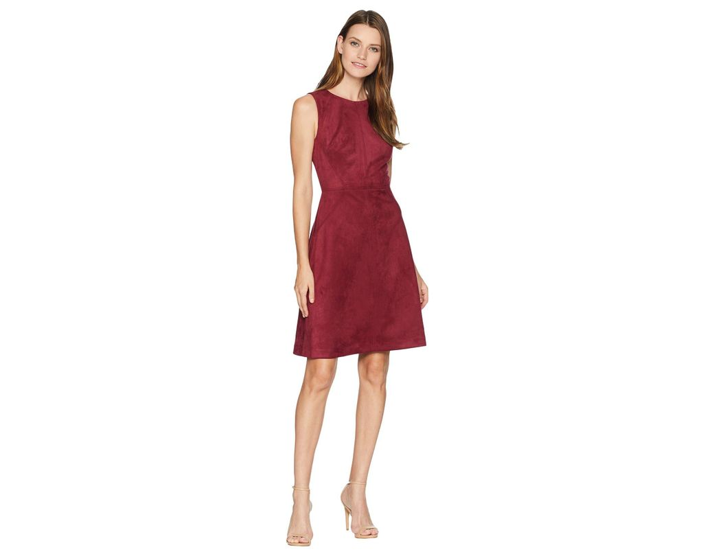 And In Papell Fit Scuba Adrianna Dress Suede FlaregarnetWomen's wkilXuOPZT