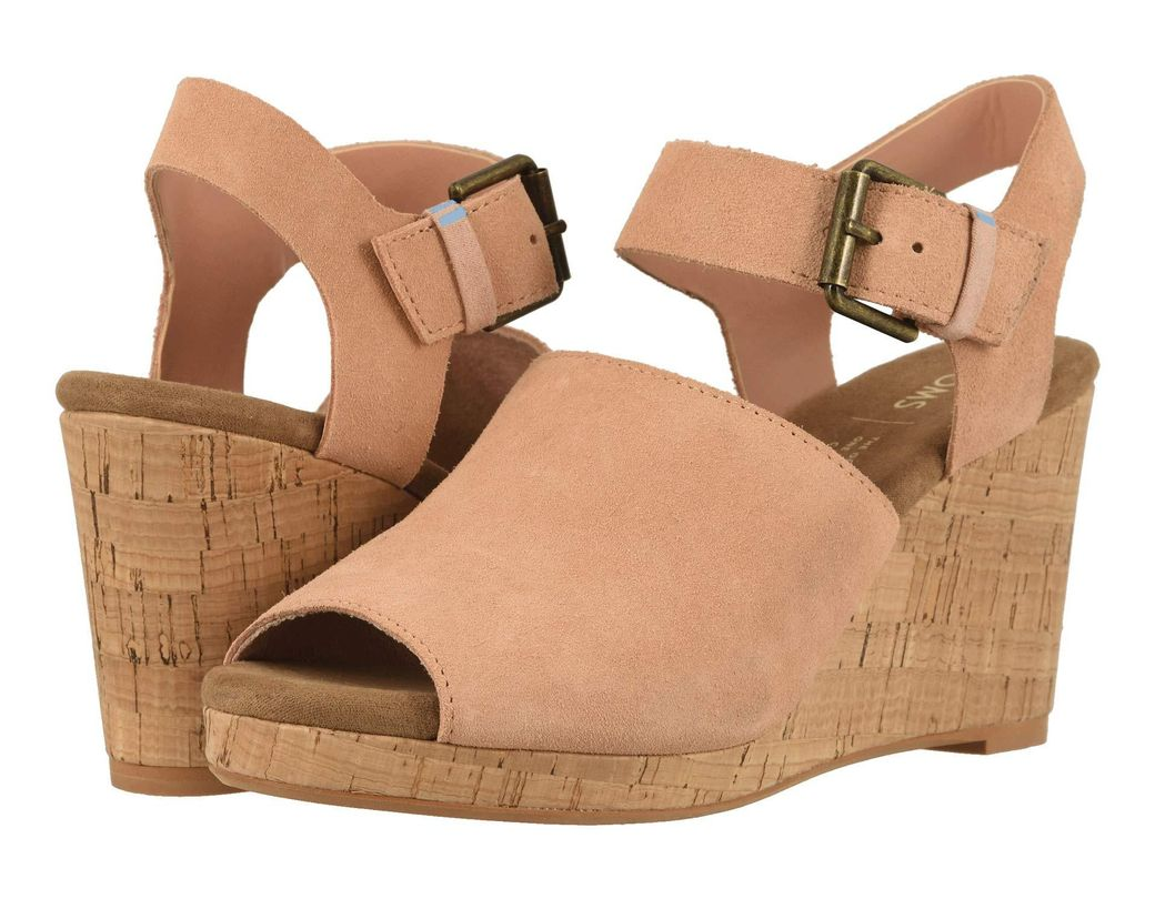 21e8fe61528a Lyst - TOMS Tropez (black Suede leather) Women s Wedge Shoes in Pink
