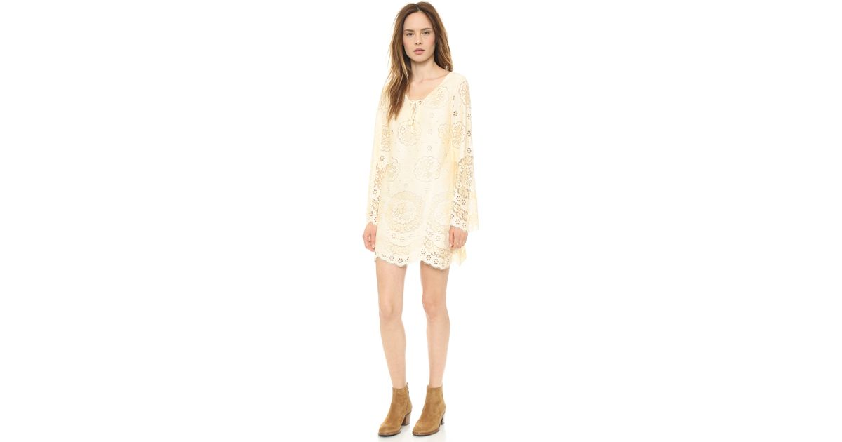Twelfth Street Cynthia Vincent Natural Lace Up Bell Sleeve Dress Cream