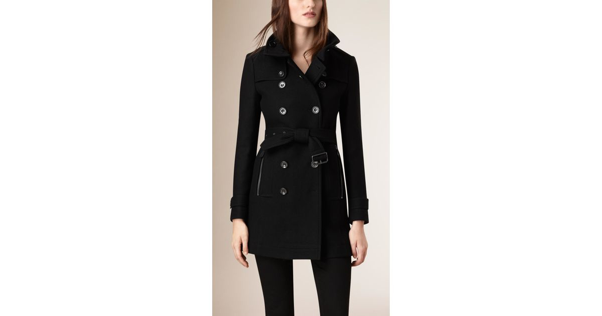 12ec426a7 Burberry Black Short Double Wool Twill Trench Coat