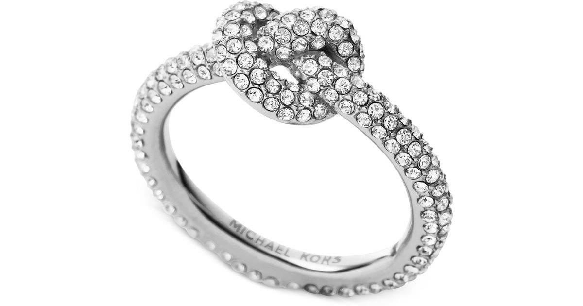Michael Kors Clear Pave Crystal Knot Ring In Silver Metallic Lyst