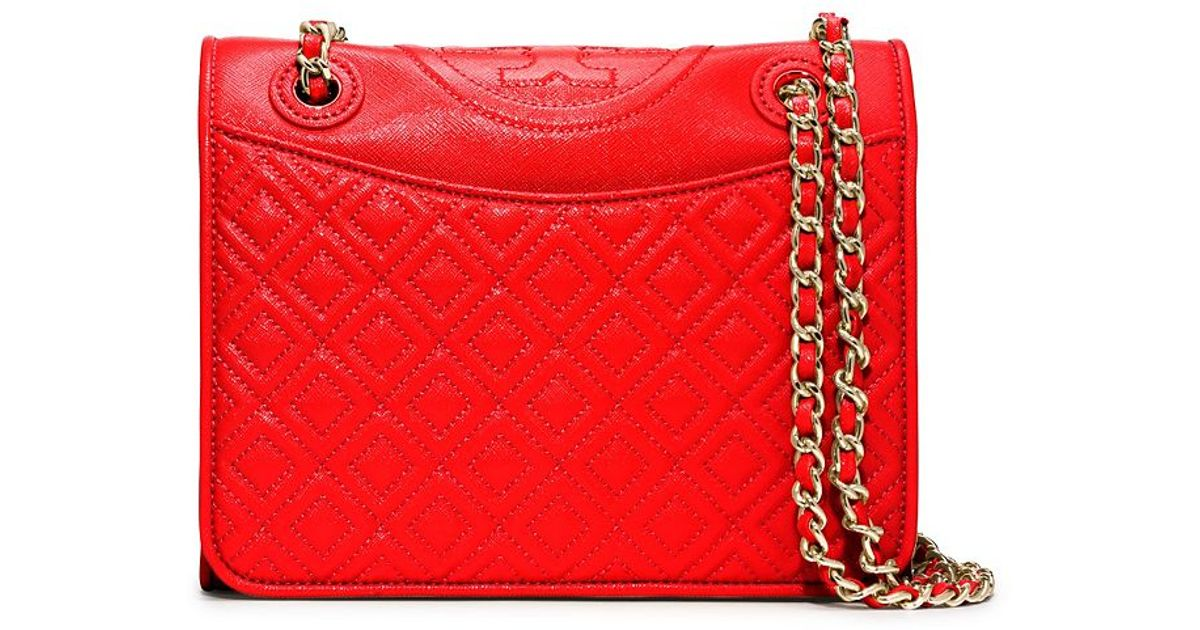 542ec1bc79c Lyst - Tory Burch Fleming Patent Medium Bag in Red