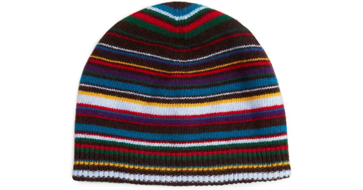 Lyst - Paul Smith Multistripe Beanie Hat in Black for Men 109224626a6