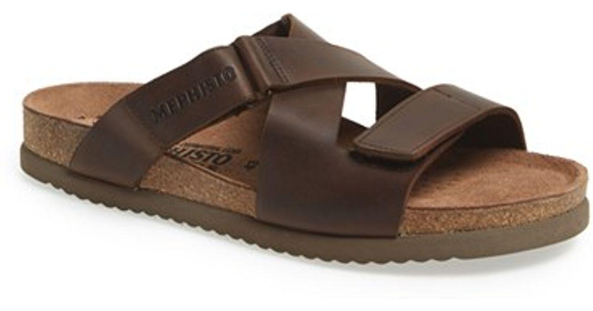 b71c0c83bb Mephisto Brown 'nadeo' Leather Slide Sandal for men