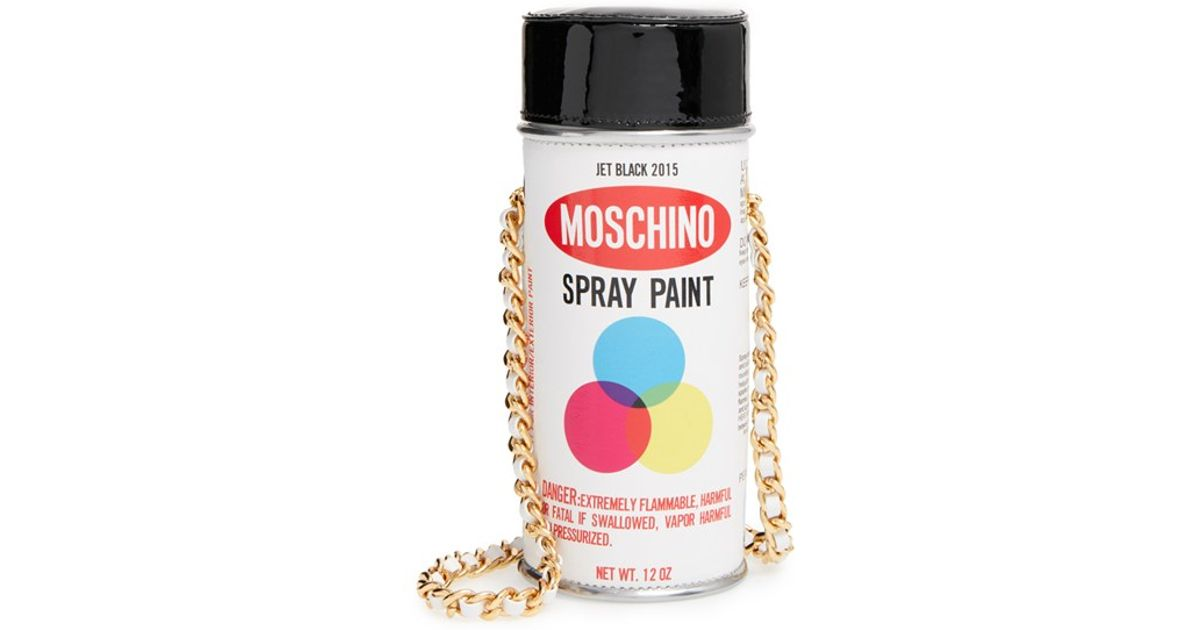moschino 39 spray paint can 39 leather crossbody bag in white lyst. Black Bedroom Furniture Sets. Home Design Ideas