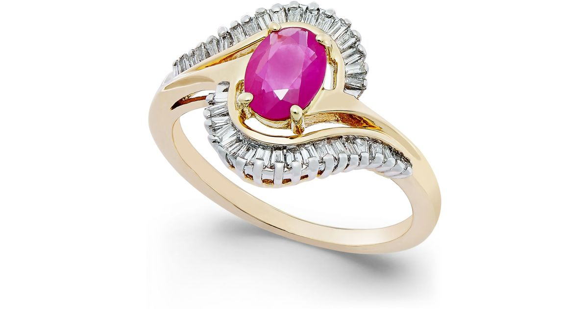 Macy s Ruby 1 Ct T w And Diamond 3 8 Ct T w Swirl Ring In 14k Gol