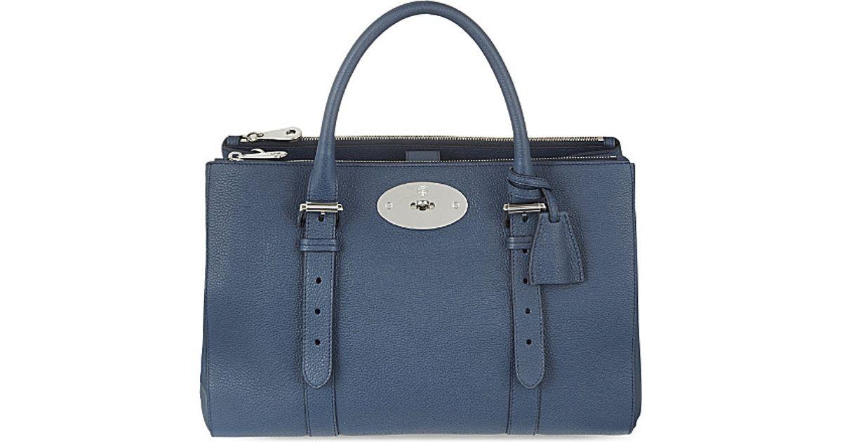 57fb73a896 ... canada mulberry bayswater double zip tote womens regal blue in blue  lyst 4e625 e49e6 ...