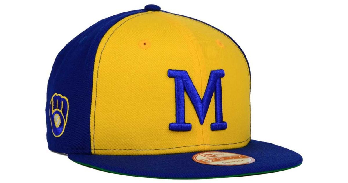 innovative design c6656 1cc65 KTZ Milwaukee Brewers 2 Tone Link Cooperstown 9fifty Snapback Cap in Blue  for Men - Lyst