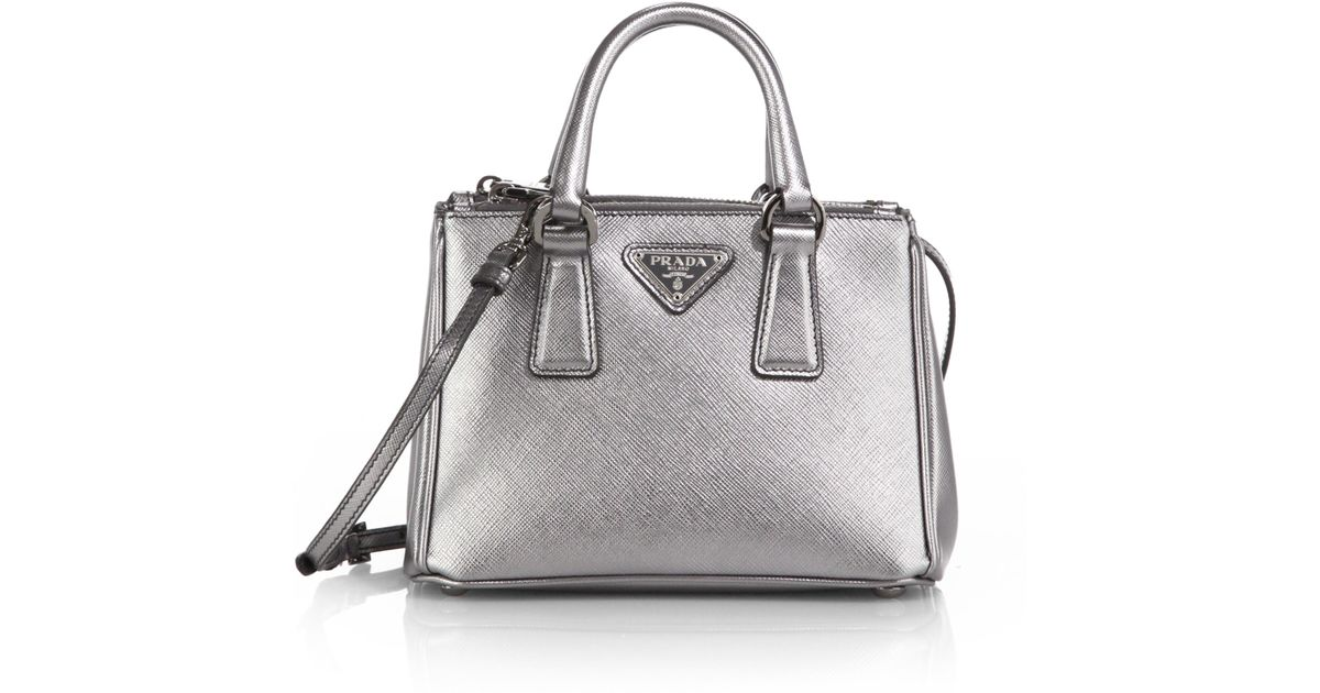 fake handbags thailand - Prada Saffiano Lux Mini Satchel in Silver (CROMO-CHROME) | Lyst