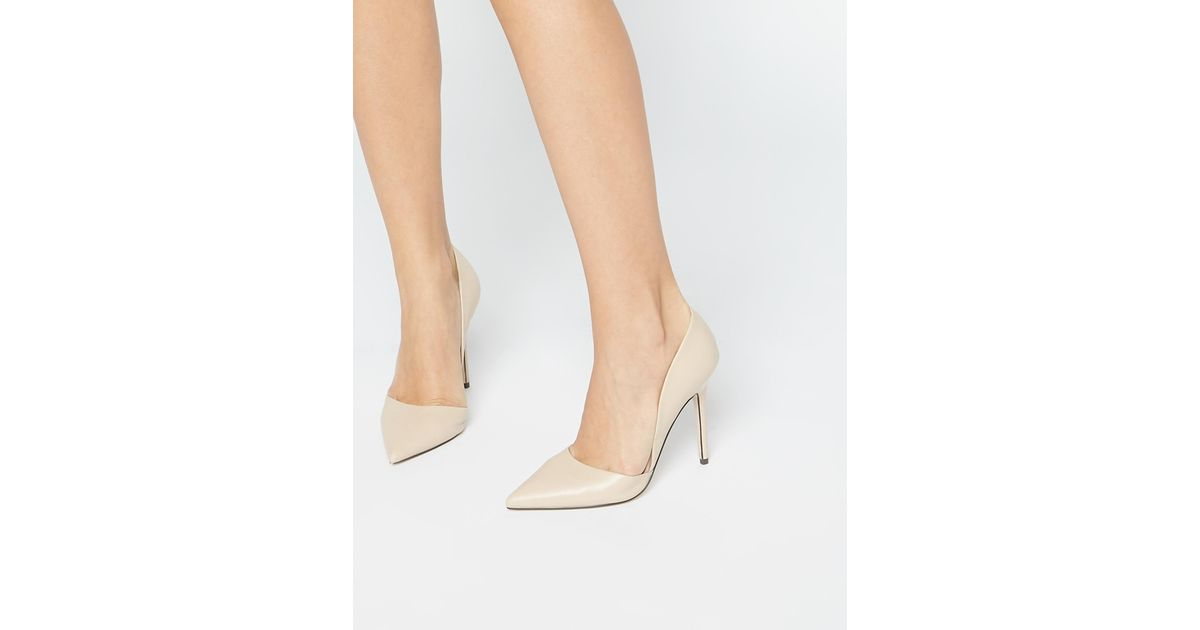 f4979366af39 Lyst - Lost Ink Nude Two Part Court Shoes in Natural