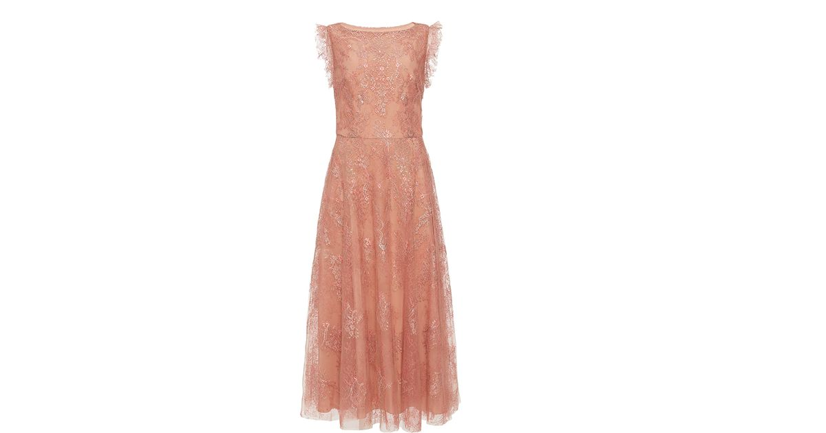 8896ad73cb8 Monique Lhuillier Metallic Chantilly Lace Midi Dress in Pink - Lyst