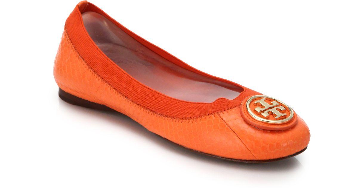 d251819da ... usa lyst tory burch caroline snake embossed leather logo flats in orange  82134 6cadd