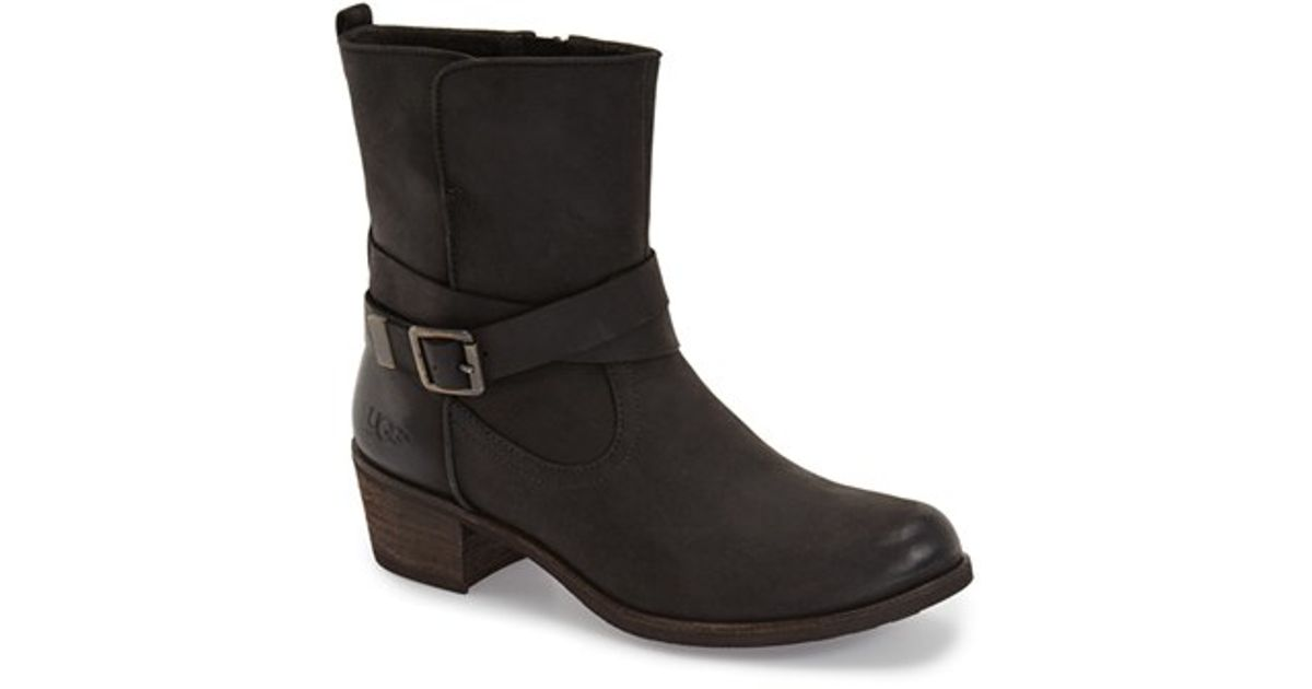 Womens Boots UGG Lorraine Black/Water Resistant Leather