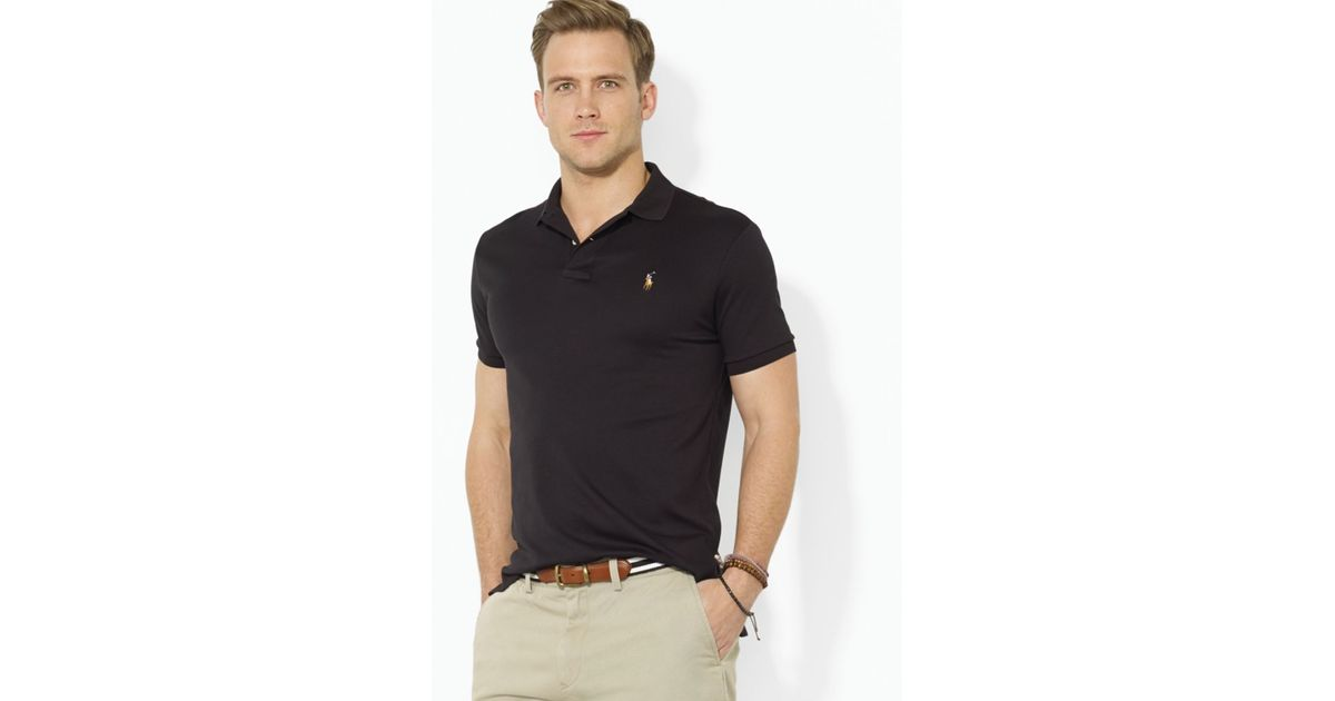 b2c371fb5 Ralph Lauren Polo Pima Soft Touch Classic Polo Shirt - Regular Fit in Black  for Men - Lyst