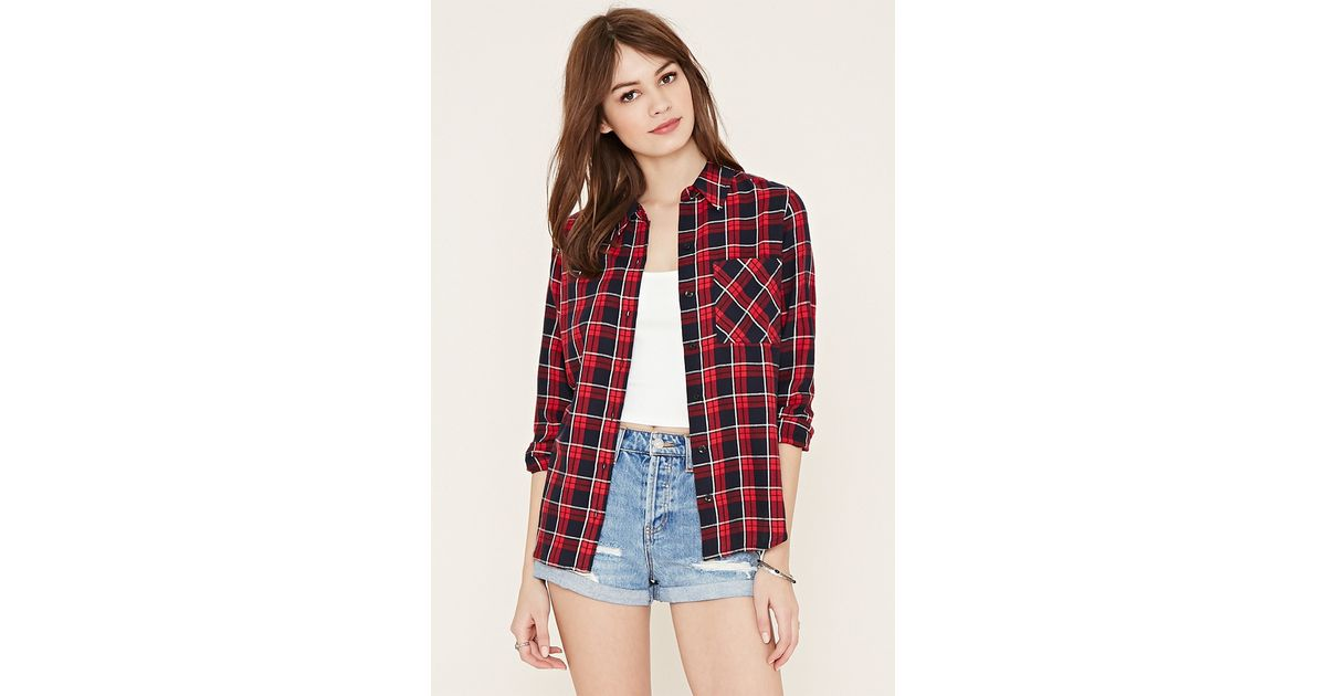 Forever 21 check flannel shirt in red lyst for Flannel shirts for womens forever 21