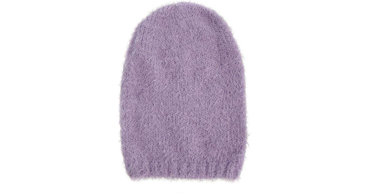 37899a3ed96 Lyst - Asos Fluffy Boyfriend Beanie in Purple