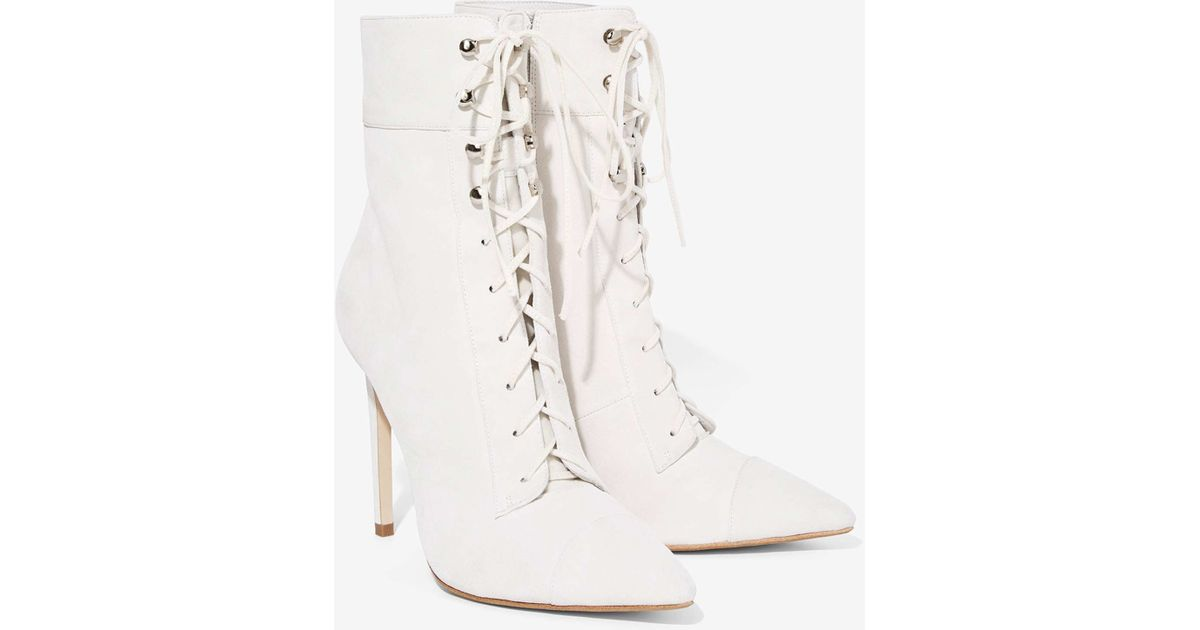jeffrey cbell elphaba suede mid calf boots in white lyst