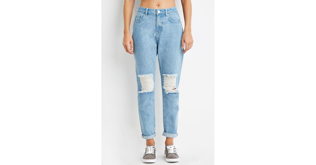 moderate price good reputation latest selection of 2019 Forever 21 Blue Contemporary Life In Progress High-waisted Ripped Jeans