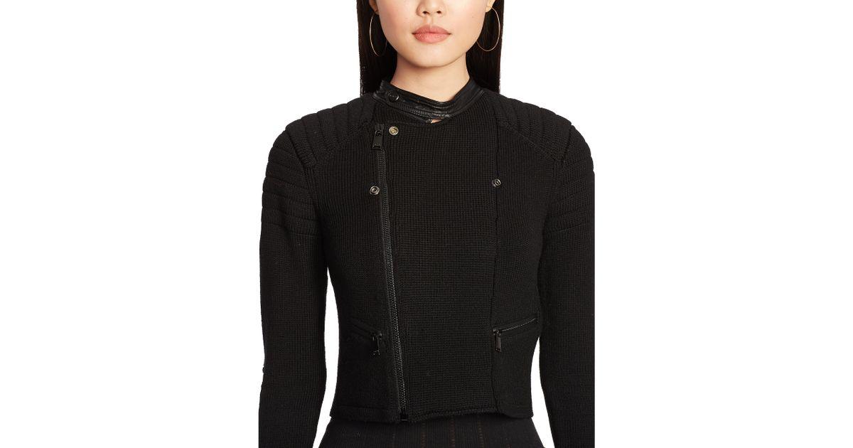 ef35578d34 Polo Ralph Lauren Black Leather-trim Moto Sweater