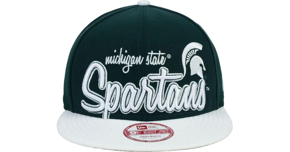 super popular bff62 7bd08 ... discount lyst ktz michigan state spartans team script 9fifty snapback  cap in green for men 3e634