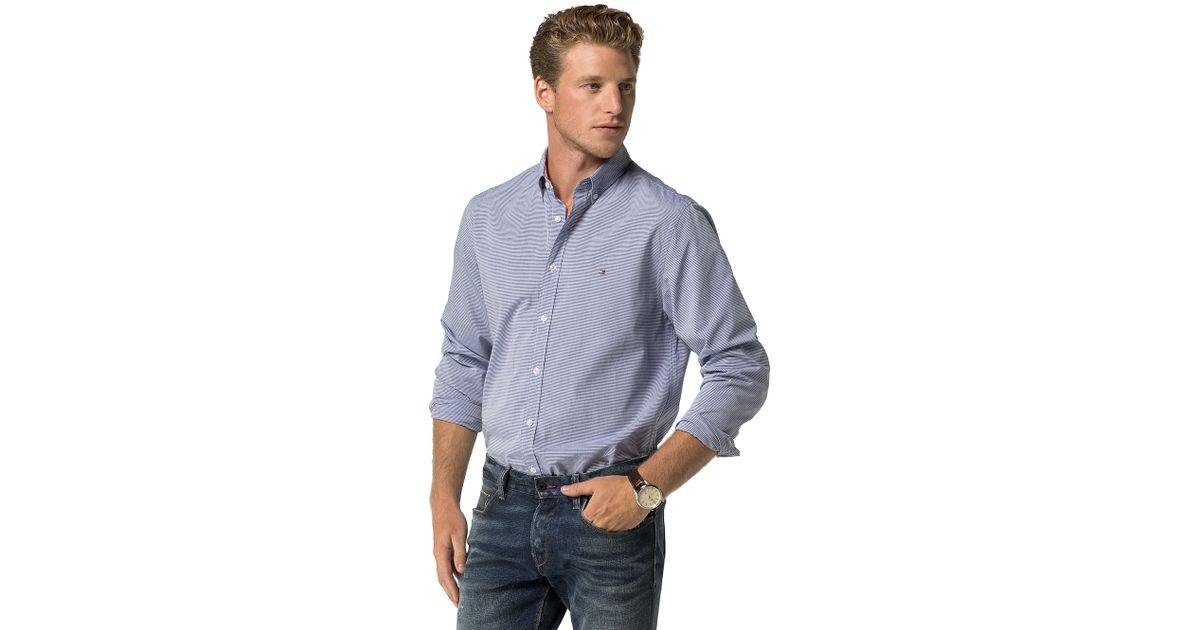 tommy hilfiger new york fit stripe shirt in blue for men. Black Bedroom Furniture Sets. Home Design Ideas
