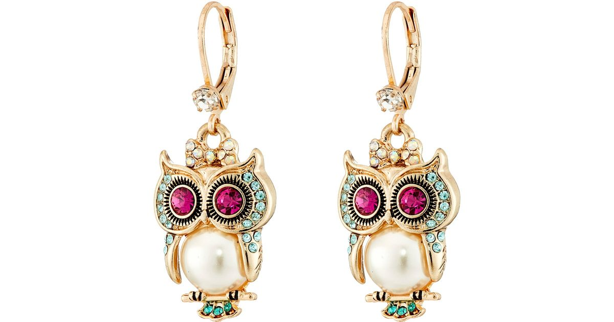 aa5241a16a8ce Betsey Johnson White Pearl Critters Owl Drop Earrings