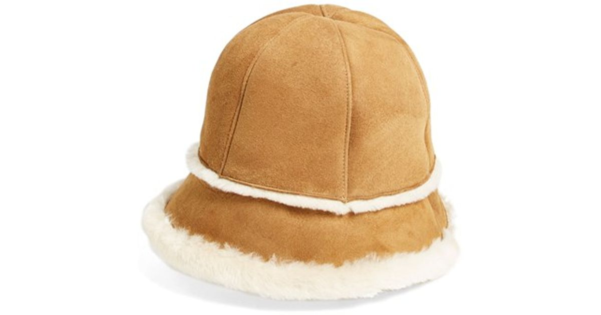 Lyst - UGG Ugg Australia  city  Genuine Shearling Bucket Hat in Brown 53f7c270a2f4