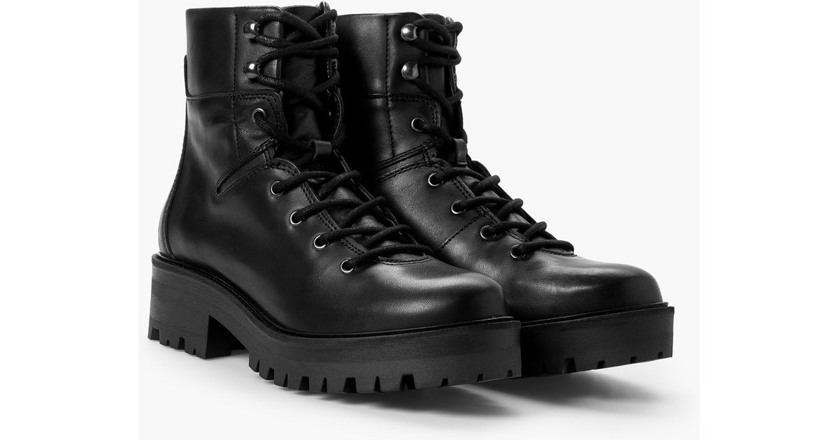 Lyst - Mango Leather Biker Ankle Boots in Black 1ebebeb4d987