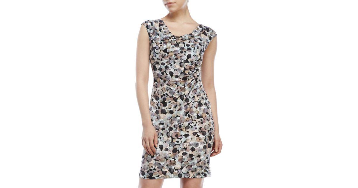 9e97f9b3 Connected Apparel Petite Bubble Print Dress - Lyst