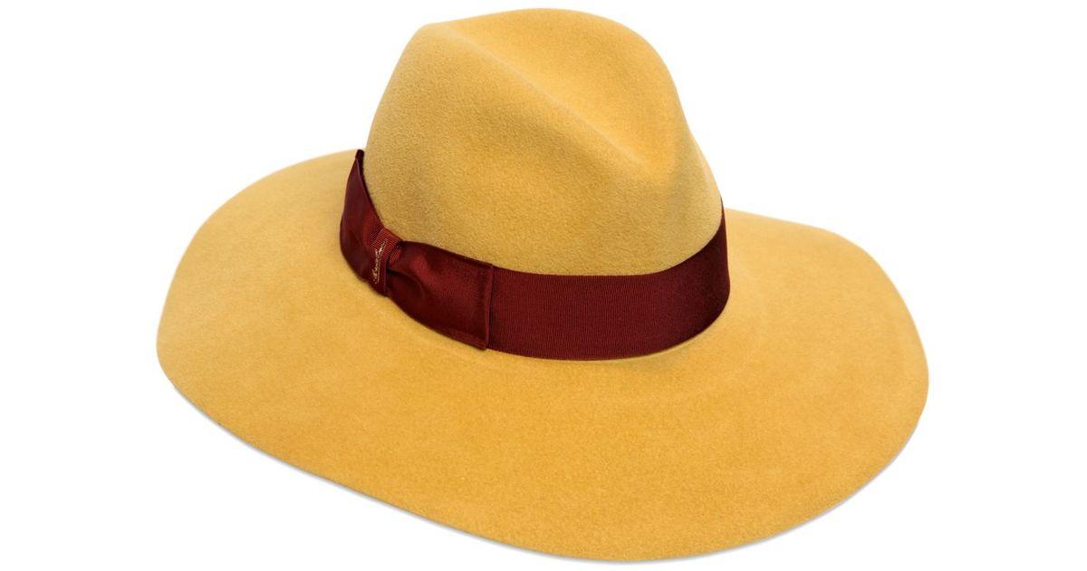 7844715b215 Borsalino Lapin Fur Felt Wide Brim Hat in Yellow - Lyst