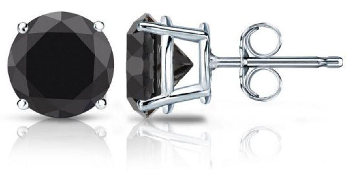Barzel Sterling Silver 2 00 Ctw Round Genuine Black Diamond Stud Earrings in