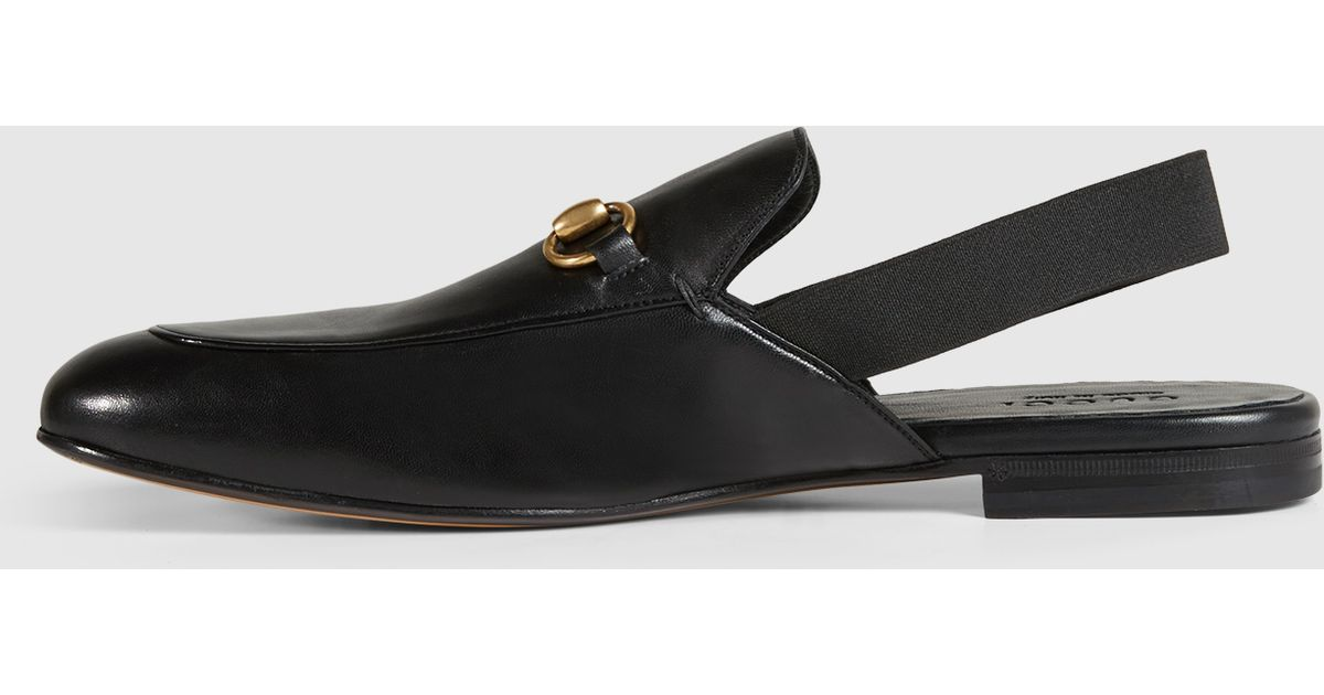 Lyst - Gucci Leather Horsebit Slingback in Black for Men