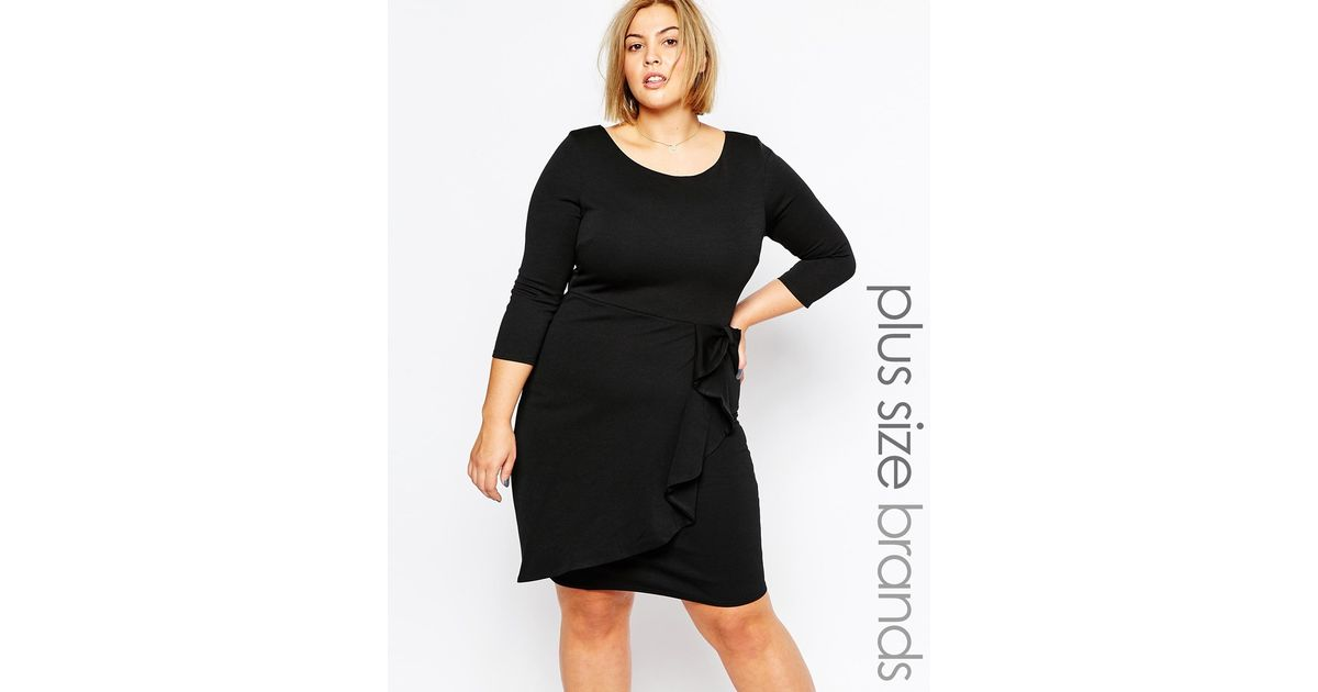 Goddiva Plus - Black Size Dress With Waterfall Peplum - Lyst