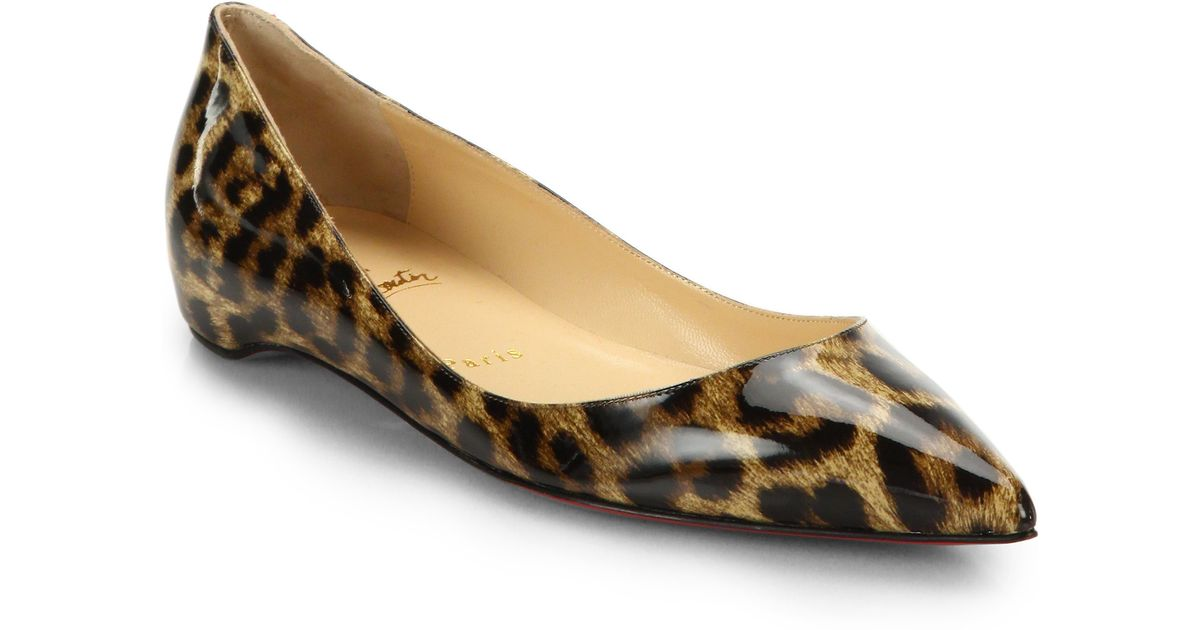 official photos 37b97 8b186 Christian Louboutin Brown Leopard Print Patent Leather Point-Toe Flats