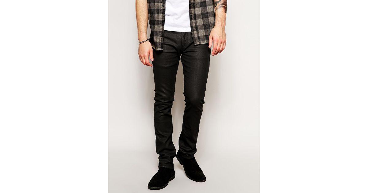 Nudie Jeans Tube Tom Skinny Fit Back In Black Coated For -1862