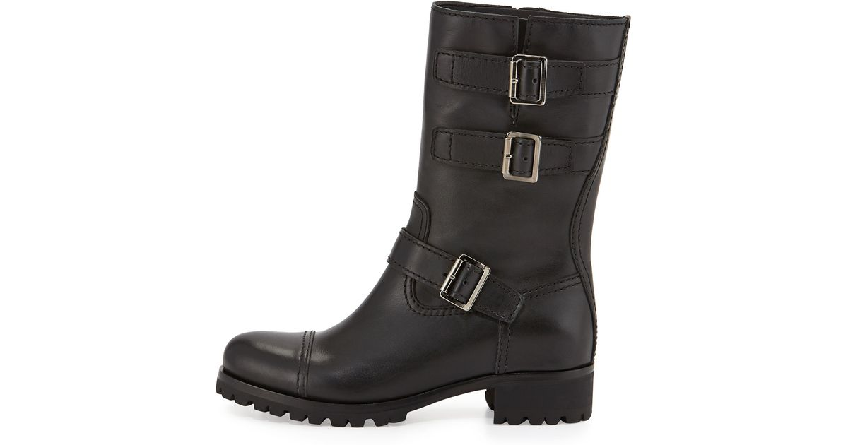 e3691e0ce22 Prada Black Short Triple-buckle Moto Boot