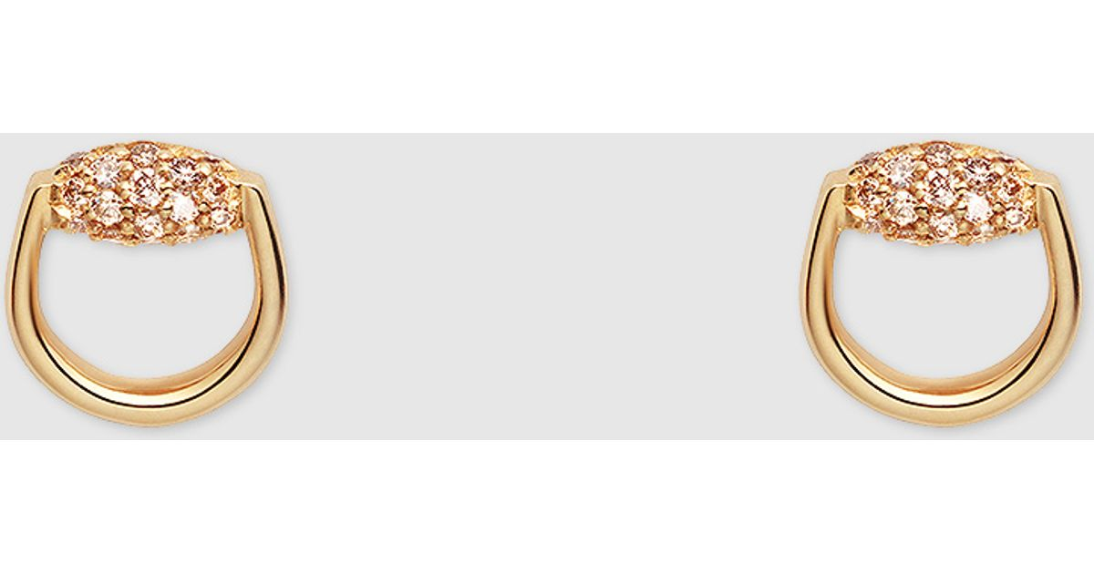 bba31f1ed1c Lyst - Gucci Horsebit Stud Earrings In Yellow Gold And Diamonds in Yellow