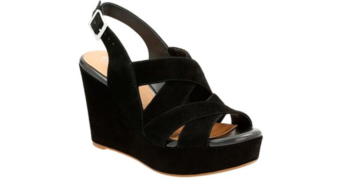 628e6c52ca5 Clarks Black Amelia Alice Slingback Wedge Sandals
