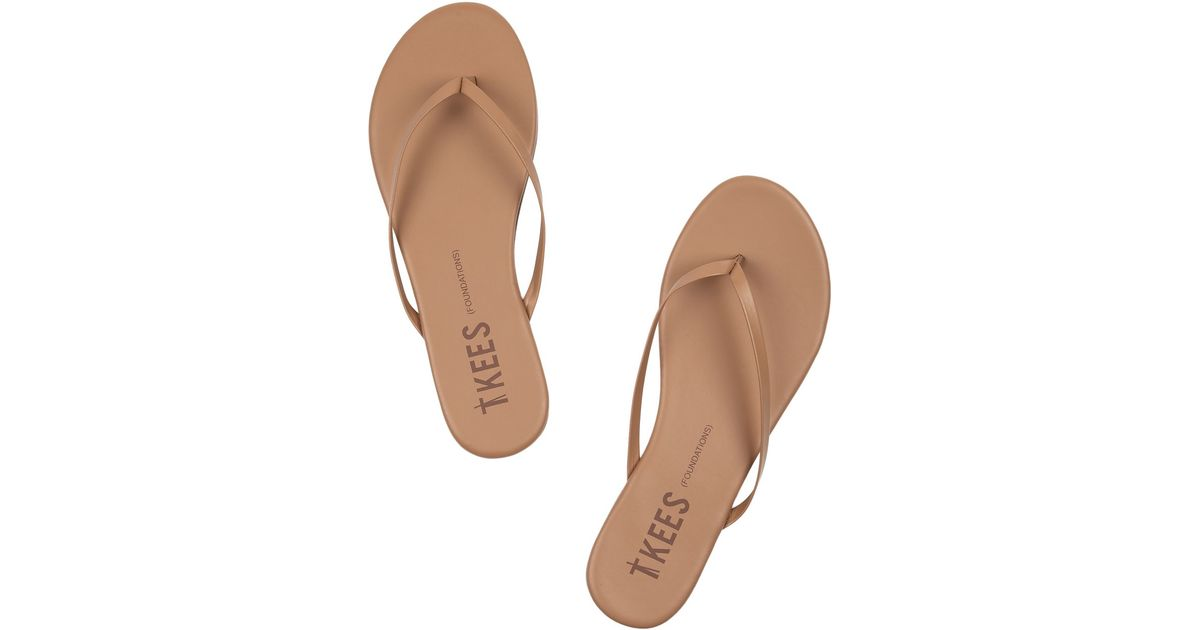 820a4f0ea Lyst - TKEES Lily Matte-Leather Flip Flops in Brown