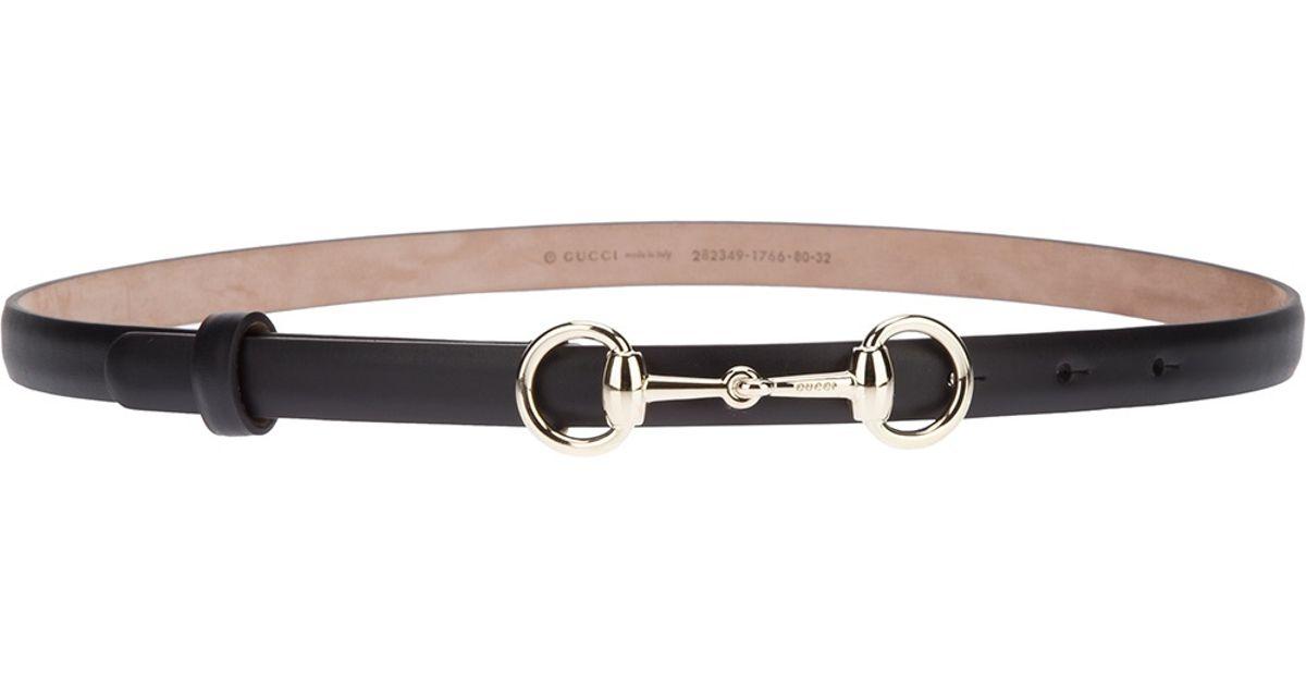 c03d6c13ce8 Lyst - Gucci Skinny Horse Bit Belt in Black
