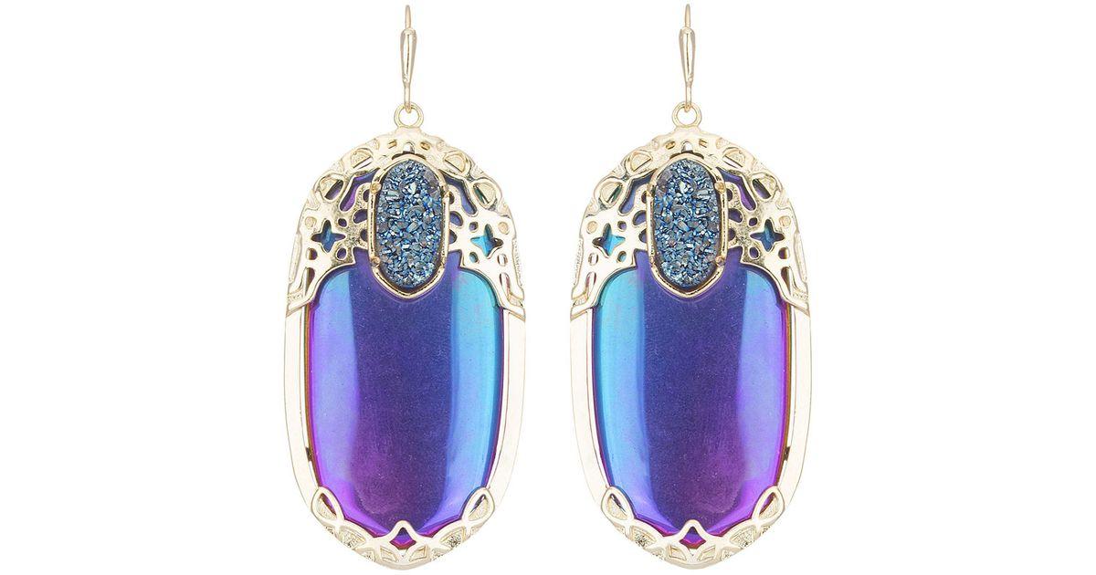 a3b70d0e23e72 Kendra Scott Blue Deva Iridescent Crystal Drop Earrings