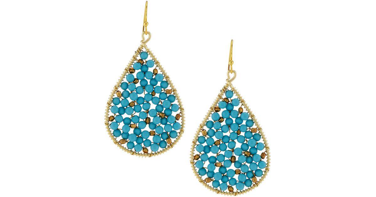 Nakamol Turquoise Beaded Hoop Earrings UZWTZ