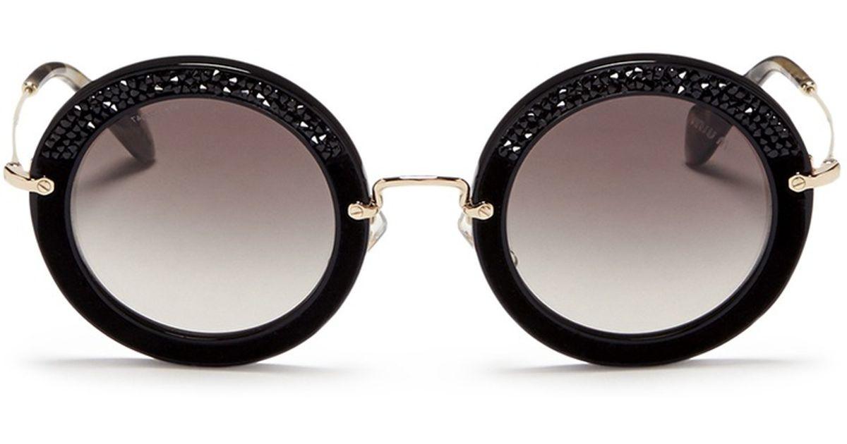 Round Miu Acetate Crystal Suede Rim Lyst Embellishment 'noir' 0qR4xaT