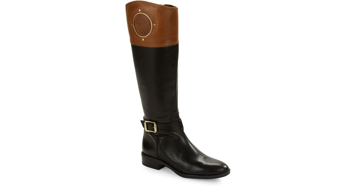 vince camuto phillie contrast leather boots in brown lyst